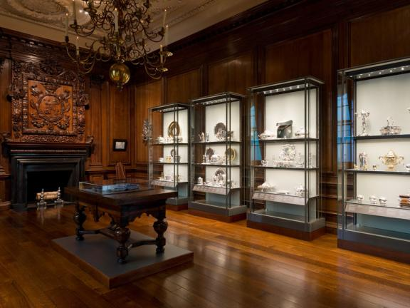 View of Hamilton Palace Dining Room, with display cases of silverware