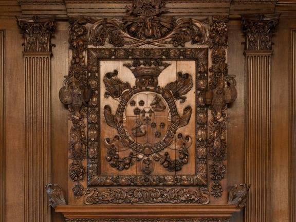 Close-up of intricate paneling in Hamilton Palace Dining Room