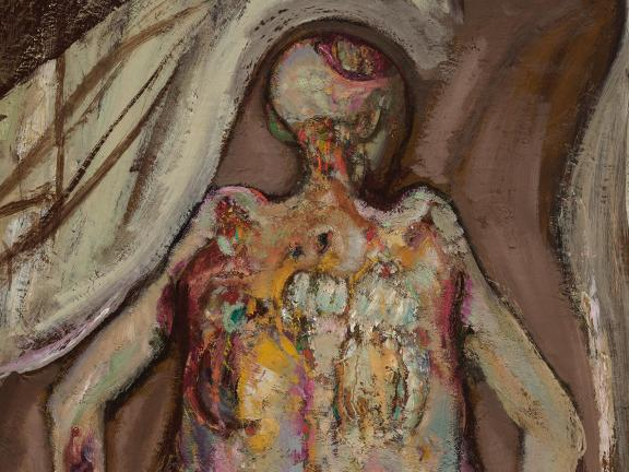 Detail of oil painting Female Corpse, Back View by Hyman Bloom.