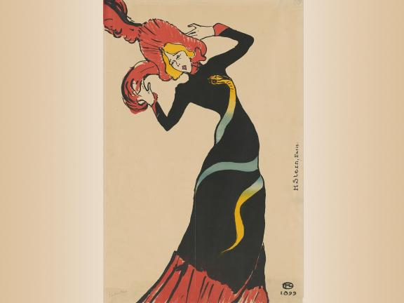 Henri de Toulouse-Lautrec, Jane Avril, 1899. Poster, color lithograph.