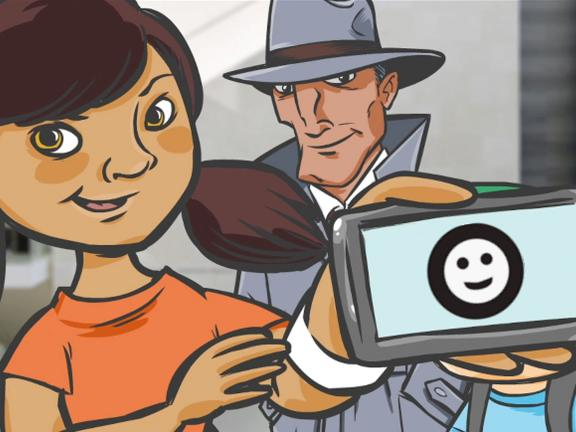 Cartoon characters, young girl holding up smartphone with smiley face, and detective in trench coat in background