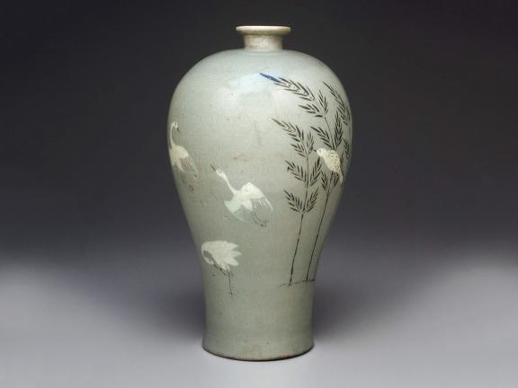 Korean, Goryeo dynasty, Prunus vase with inlaid bamboo and cranes, early 13th century
