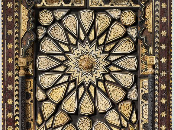 Minbar (pulpit) door, detail. Wood (ebony, Aleppo pine, abura, boxwood) and ivory or bone.