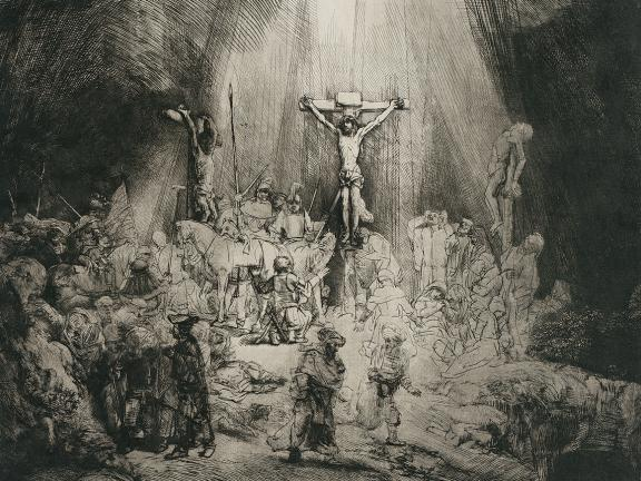 Rembrandt Harmensz. van Rijn's etching, Christ Crucified between the Two Thieves