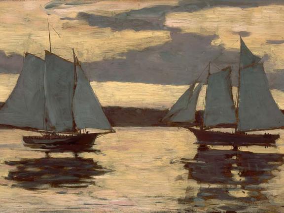 Detail of Winslow Homer's painting, Gloucester Mackerel Fleet at Sunset