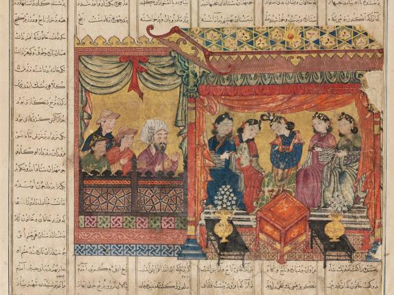 Detail of ink drawing depicting Mihran Sitad choosing one of the Khagan's five daughters