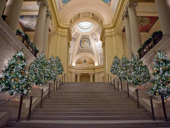 View of Rotunda from Huntington Avenue Entrance stairs, lights and holiday decorations