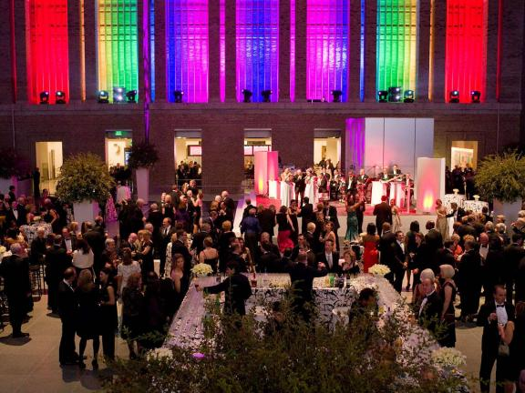 Black-tie party in Shapiro Family Courtyard, view of rainbow lights in alcoves west side