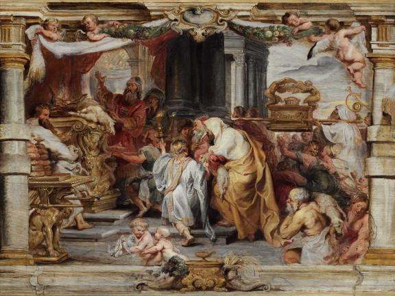 Oil on panel by Peter Paul Rubens titled The Sacrifice of the Old Covenant