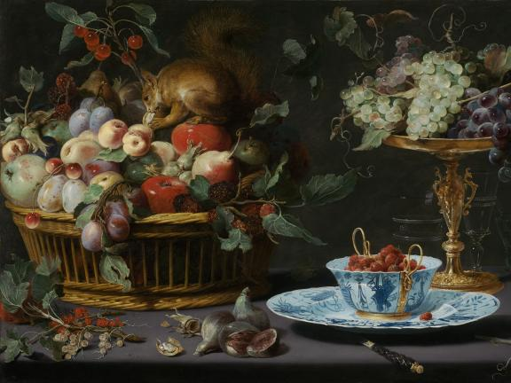 Oil on copper painting by Frans Snyders titled Still Life with Fruit