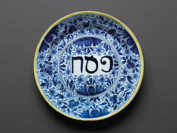 18th century Passover plate made by Porcelain Claw Factory