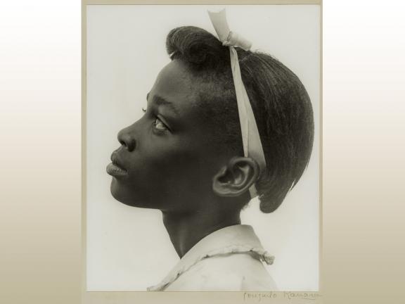Gelatin silver print by Consuelo Kanaga, Young Girl in Profile