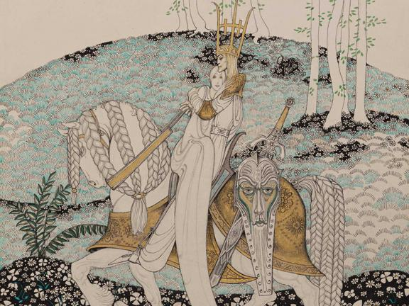 Detail of watercolor illustration from The Lassie and Her Godmother, by Kay Nielsen