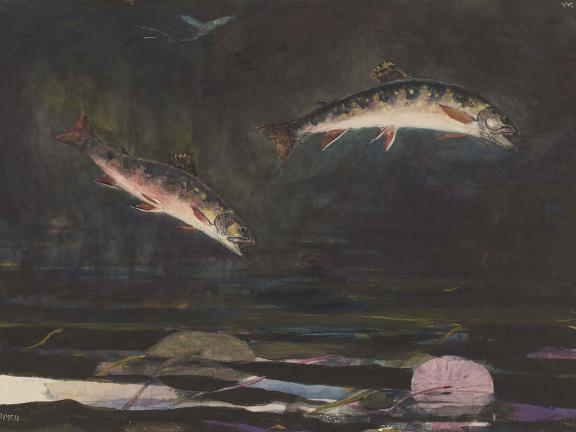 Detail of Winslow Homer's painting, Leaping Troup