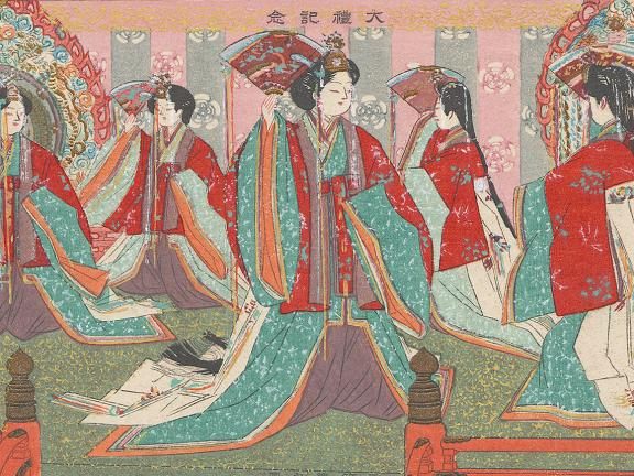Japanese print, The Gosechi Dance, from the series In Commemoration of the Enthronement (Tairei kinen)