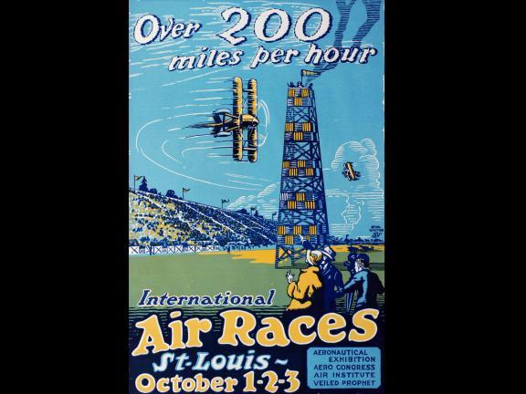 Designer: Carl Walter, Over 200 miles per hour. International Air Races St Louis October 1-2-3. Aeronautical Exhibition Aero Congress Air Institute Veiled Prophet. American, 1923