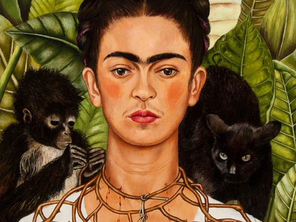 Detail of Frida Kahlo's self-portrait with hummingbird and thorn necklace