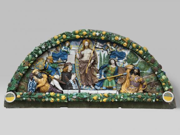 Glazed terracotta lunette of the Resurrection of Christ