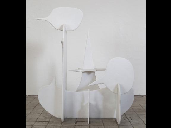 Marble chair in fluid shapes.