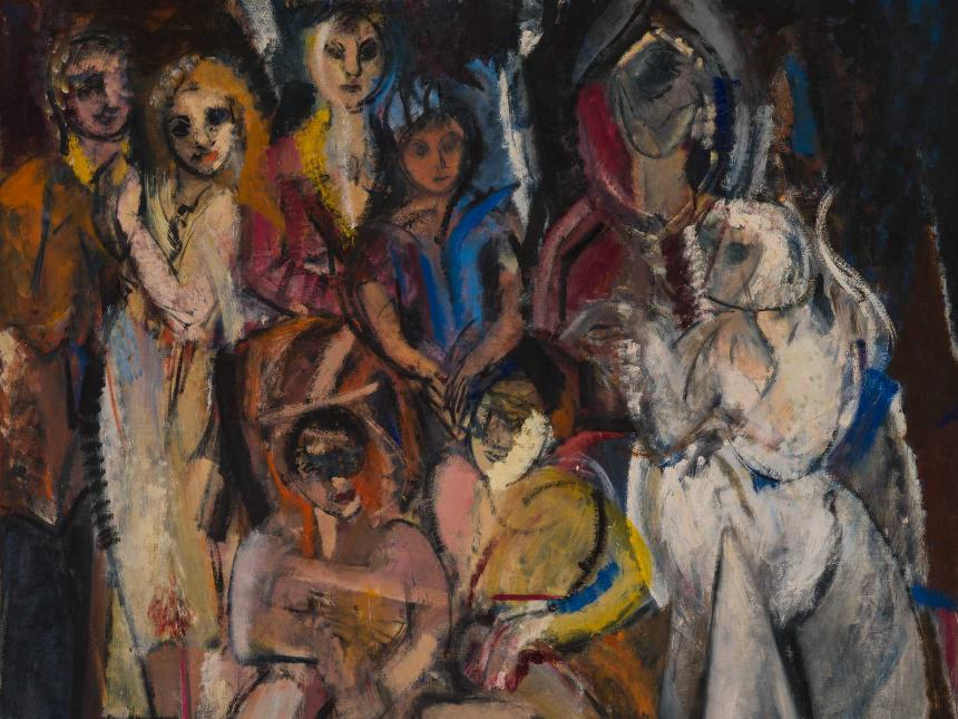 Detail of Grace Hartigan's painting, Masquerade, featuring a somewhat abstract depiction of various female figures
