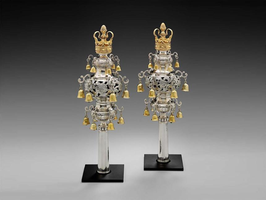 pair of 18th century torah finials