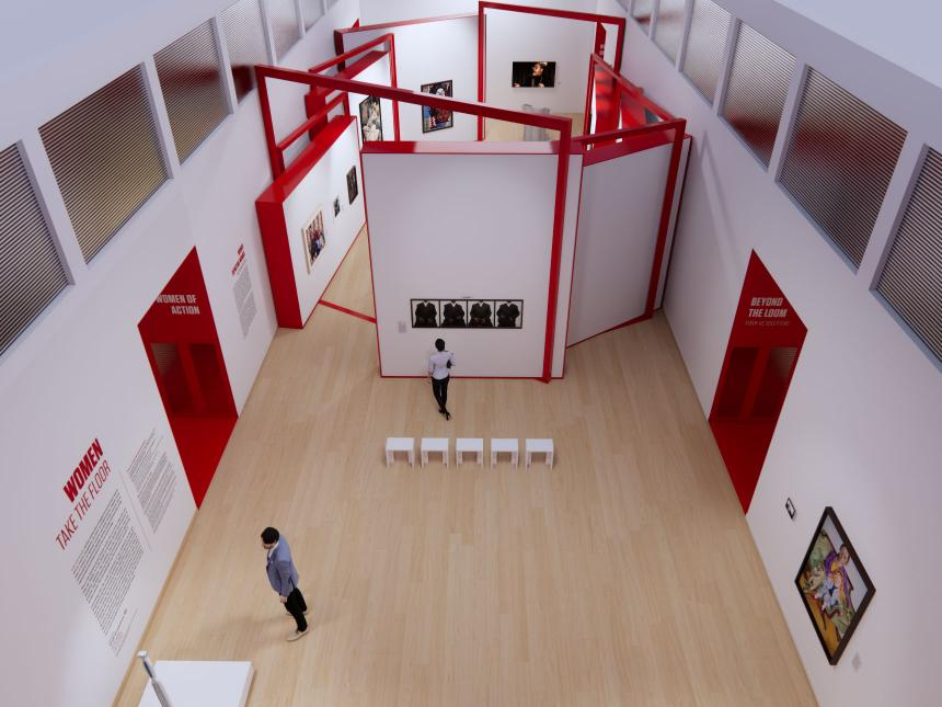 virtual view of main exhibition gallery from above