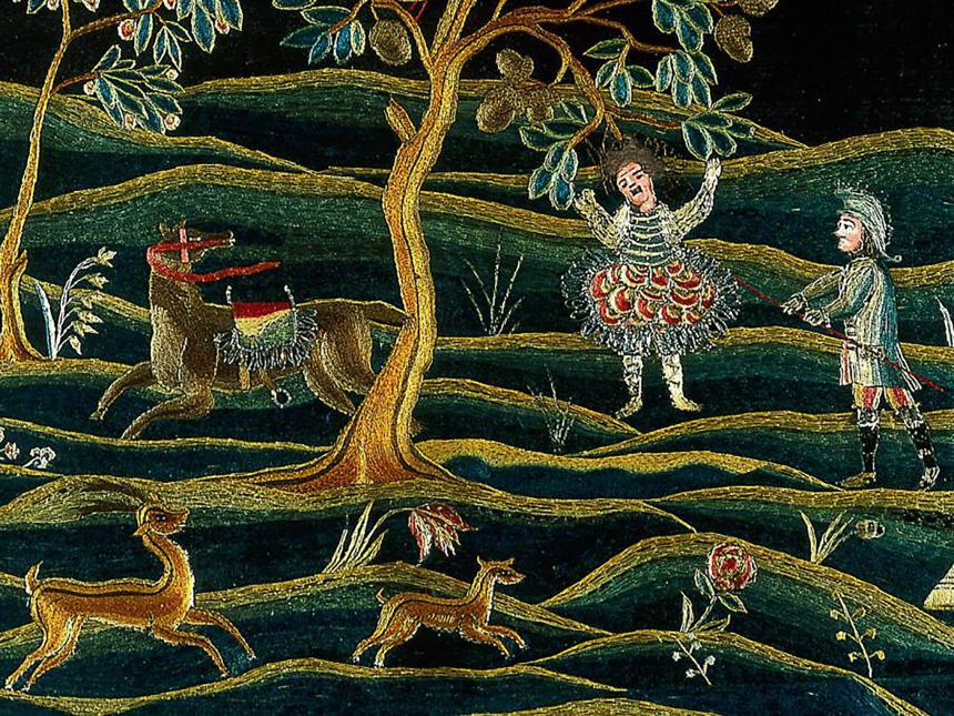 detail of embroidered overmantel depicting hanging of Absalom, with deer scattered around nearby field