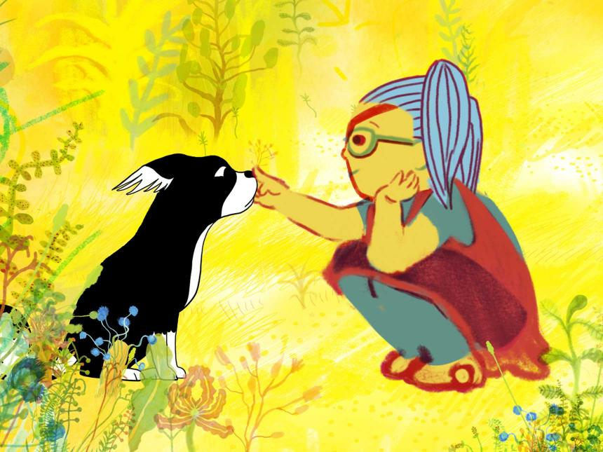 Still from animated film Marona's Fantastic Tale, depicting young girl petting dog against bright yellow background