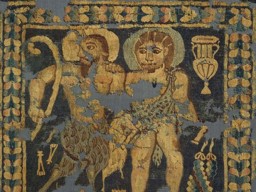 detail of tapestry fragment depicting Pan and Dionysos