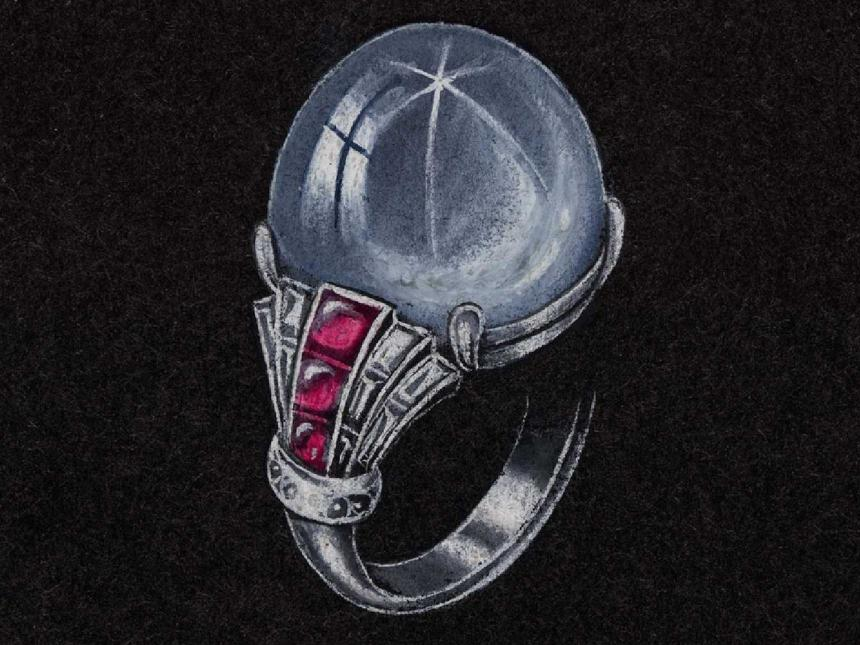 drawing of a ring with a large blue stone on black paper