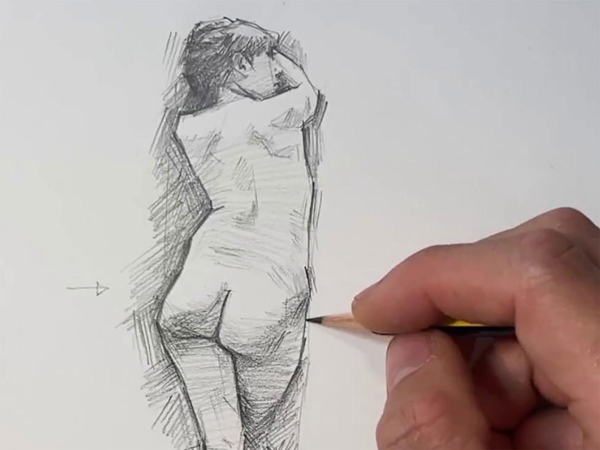 Detail of drawing of nude female figure; with pencil in the process of drawing