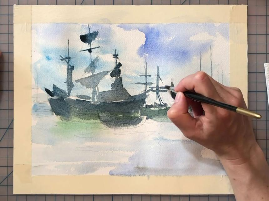 Close-up of watercolor painting in progress, depicting tall ship on ocean, with hand holding paintbrush