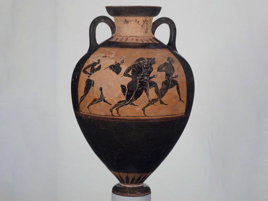 Greek vase depicting five athletes running