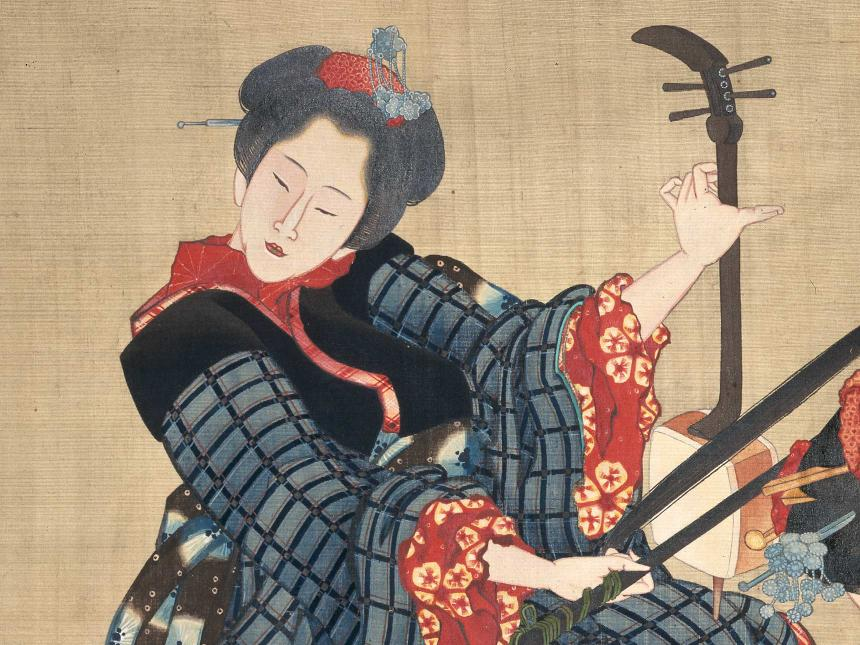 Detail of Japanese print depicting woman playing stringed musical instrument