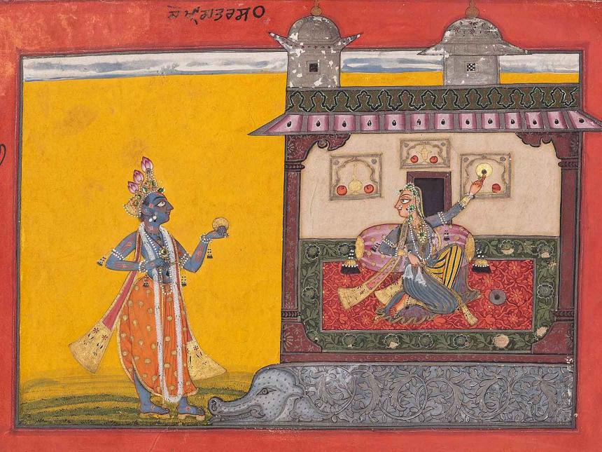 Detail of Indian painting depicting male figure holding organge towards resting female figure in building