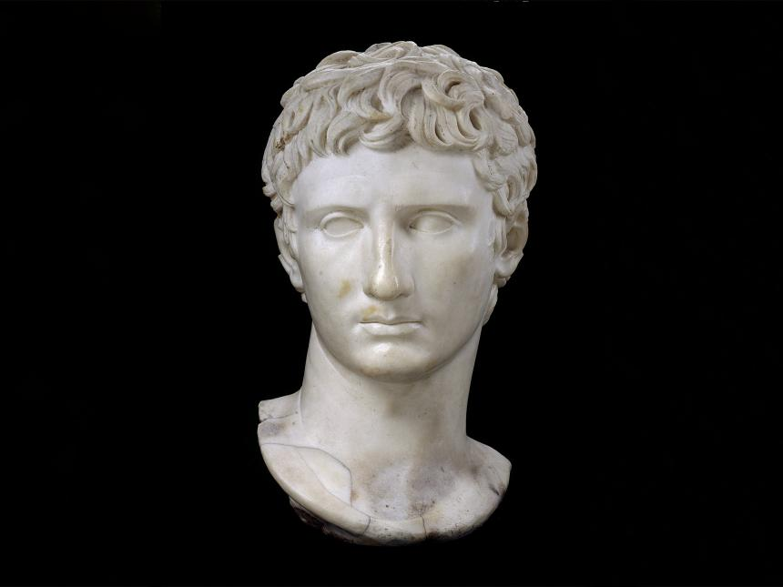 marble a bust depicting the head of Augustus