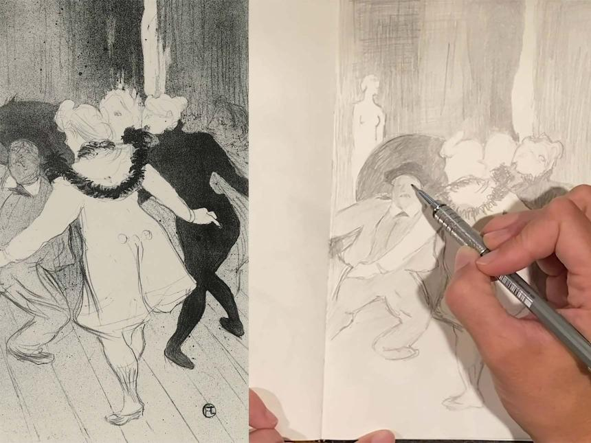 Toulouse-Lautrec drawing of dancers on left; overhead view of drawing book with hand holding pencil replicating Toulouse-Lautrec drawing