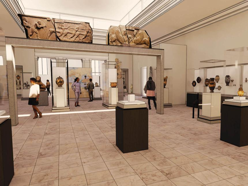 Rendering of Gallery 213, featuring early Greek pottery and sculptures encased behind glass and large wall fragments mounted on platform overhead