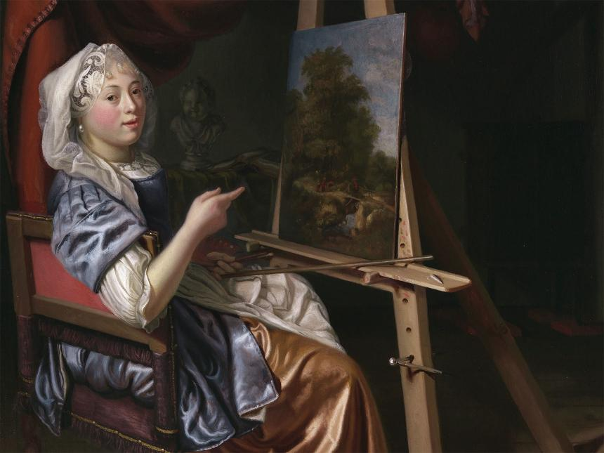 Portrait of woman in a dress and head covering, seated in front of a landscape painting on an easel