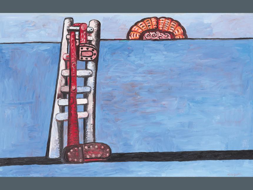 Painting of a white ladder with shoes hanging from it, propped against a blue wall