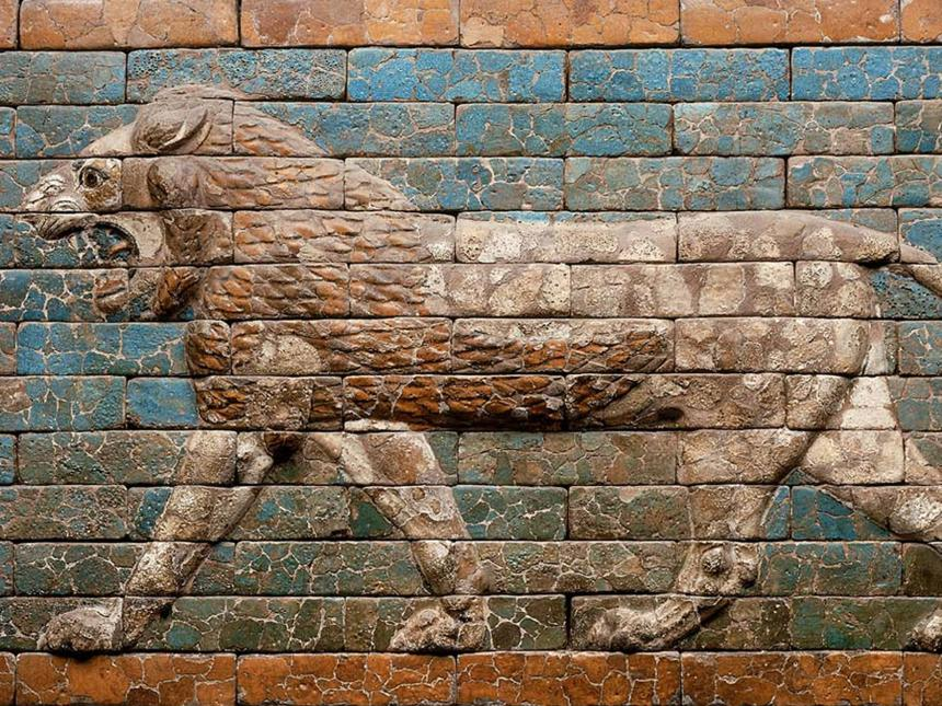 Detail of Babylonian depiction of striding lion made of glazed bricks