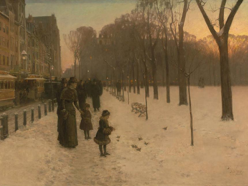 Childe Hassam painting depicting mother and two young girls feeding pigeons on edge of a snowy Boston Common during twilight