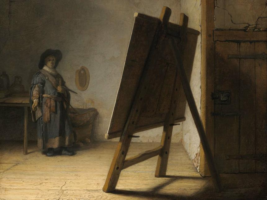 Detail of Rembrandt Harmensz van Rijn's painting, Artist in his Studio