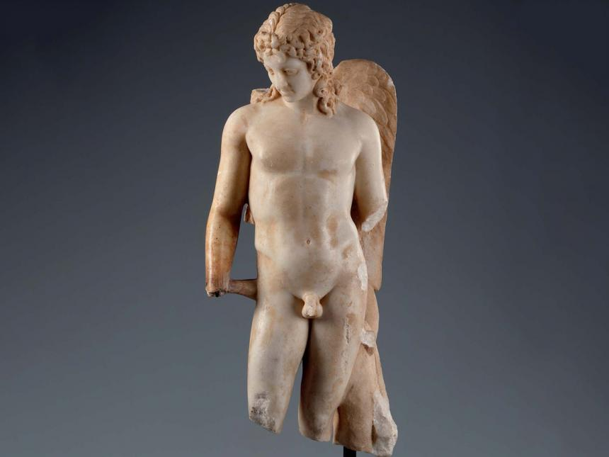 Roman sculpture depicting winged Cupid
