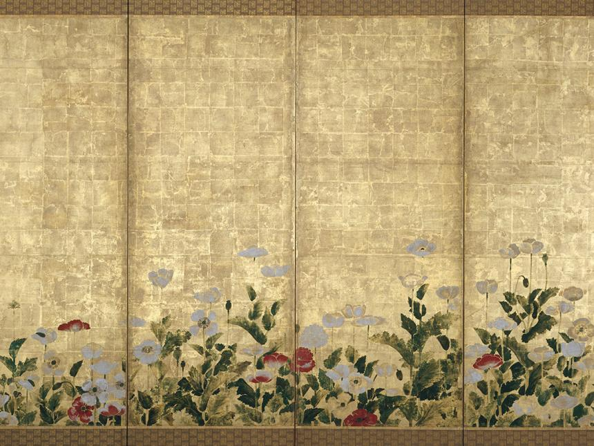 Detail of Japanese screen featuring poppies