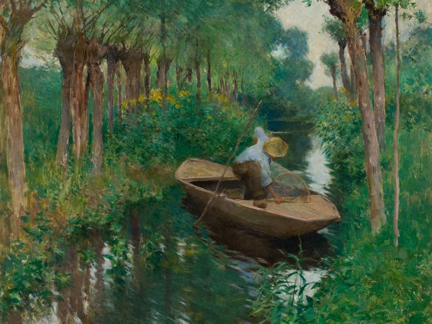 detail of impressionist painting depicting rowboat on river