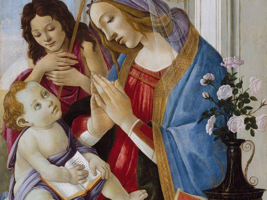 Detail of Sandro Botticelli's painting, Virgin and Child with Saint John the Baptist