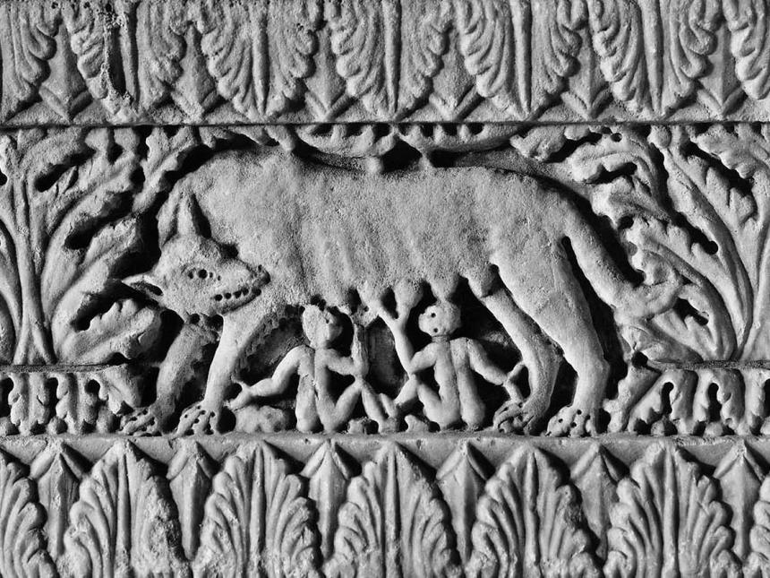 Detail of carved base with Romulus and Remus