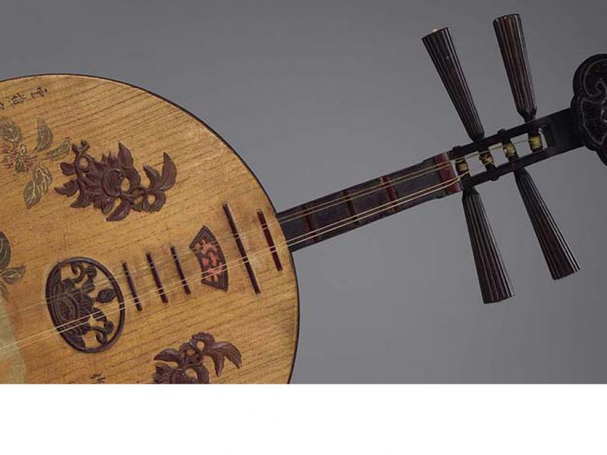 Detail of late-19th century Chinese lute (yueqin)