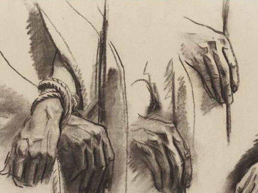 Detail of John Singer Sargent's sketch for the Sorrowful Mysteries, the Crowning with Thorns - Hands